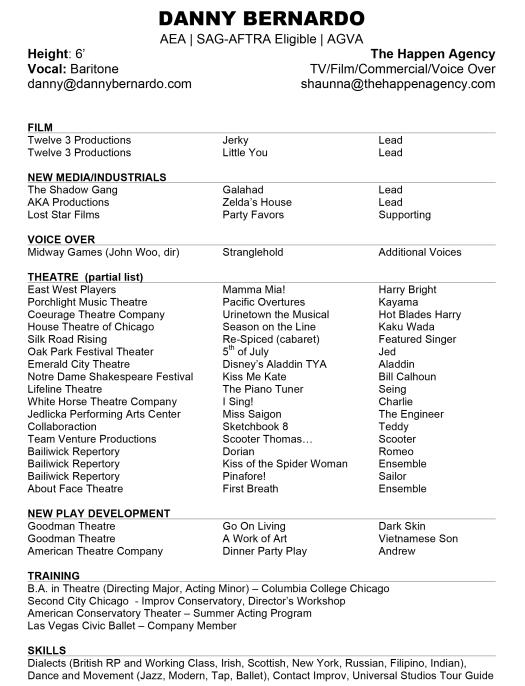Microsoft Word - Danny Bernardo - Acting CV WEB.docx